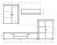 Obývacia stena Mamba - slivka / biely mat