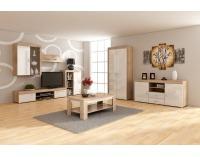 Obývacia stena Mamba - sonoma svetlá / biely lesk