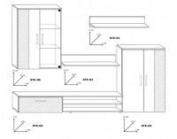 Obývacia stena Stella - sonoma svetlá / sonoma tmavá