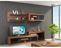 Obývacia izba Verin - slivka / čierny vysoký lesk