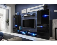 Obývacia stena s osvetlením Modern - čierna / čierny lesk
