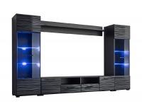 Obývacia stena s osvetlením Modica - čierna / sahara lesk