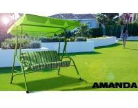 Záhradná hojdačka Amanda - zelená / pásiky
