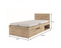 Jednolôžková posteľ s roštom Orestes 90 90x200 cm - dub san remo