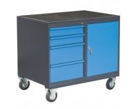 Dielenský vozík na kolieskach so zámkom PLW01G/P7P1 - grafit / modrá
