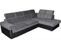 Rohová sedačka s rozkladom a úložným priestorom Atlanta P - sivá látka / čierna ekokoža