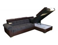 Rohová sedačka s rozkladom a úložným priestorom Atlanta P - tmavosivá látka / hnedá ekokoža