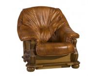 Kožená sedacia súprava Parys - drevo D3 / svetlohnedá (Antyk S40)