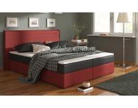 Čalúnená manželská posteľ s matracmi Bergamo 160 - čierna / červená (megacomfort visco)