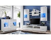 Obývacia stena s osvetlením Reno - biela / biely lesk