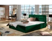 Čalúnená manželská posteľ s roštom Rovigo 160 - tmavozelená