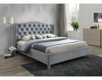 Čalúnená manželská posteľ s roštom Aspen Velvet 160 - sivá