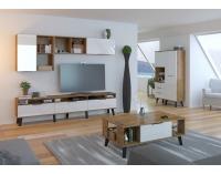 Obývacia izba Sven - dub burgundský / biely lesk