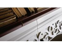 Šatníková skriňa Milano MI-3D - biely vysoký lesk / mahagón
