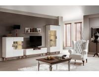 Rustikálna jedáleň Torino - biely vysoký lesk / dub Torino