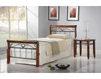 Kovová jednolôžková posteľ s roštom Veronica 90 - čerešňa antická / čierna