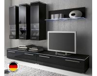 Obývacia stena Hannover - čierny mat / čierny vysoký lesk