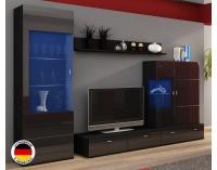 Obývacia stena Jena - čierny mat / čierny vysoký lesk