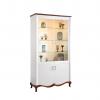 Rustikálna vitrína Milano MI-W2 - biely vysoký lesk / mahagón