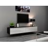TV stolík na stenu Vigo 180 - čierna / biely lesk